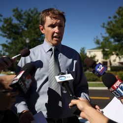 Ben Horsley talks to the media about a teacher that accidentally shot herself in the leg shortly before school started at Westbrook Elementary School in Taylorsville on Thursday, Sept. 11, 2014. She was alone, in a faculty bathroom, away from any students or faculty.