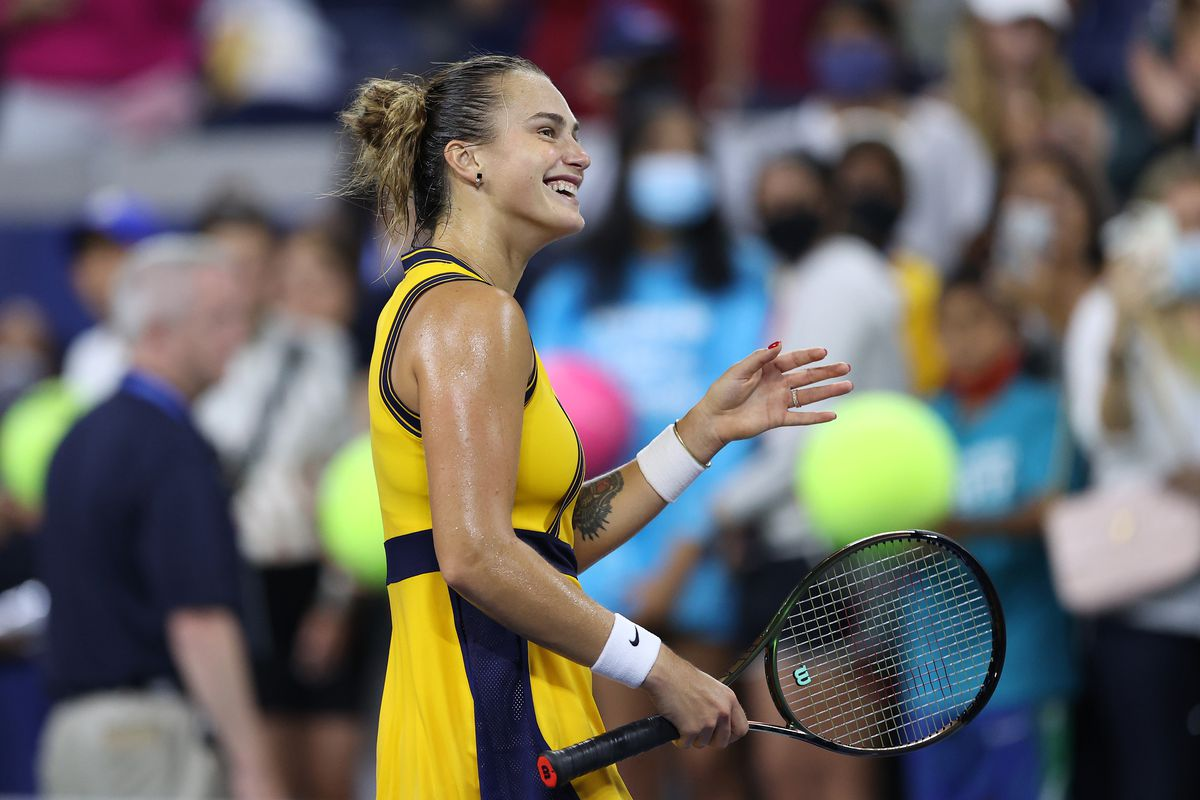 Aryna Sabalenka of Belarus celebrates after defeating Elise Mertens of Belgium during her Women's Singles round of 16 match on Day Seven at USTA Billie Jean King National Tennis Center on September 05, 2021 in New York City.
