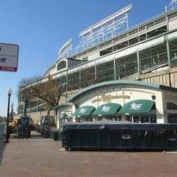 12:58 p.m. View along the Addison Street side of the ballpark, with the Draft Kings Sports Zone in the foreground -