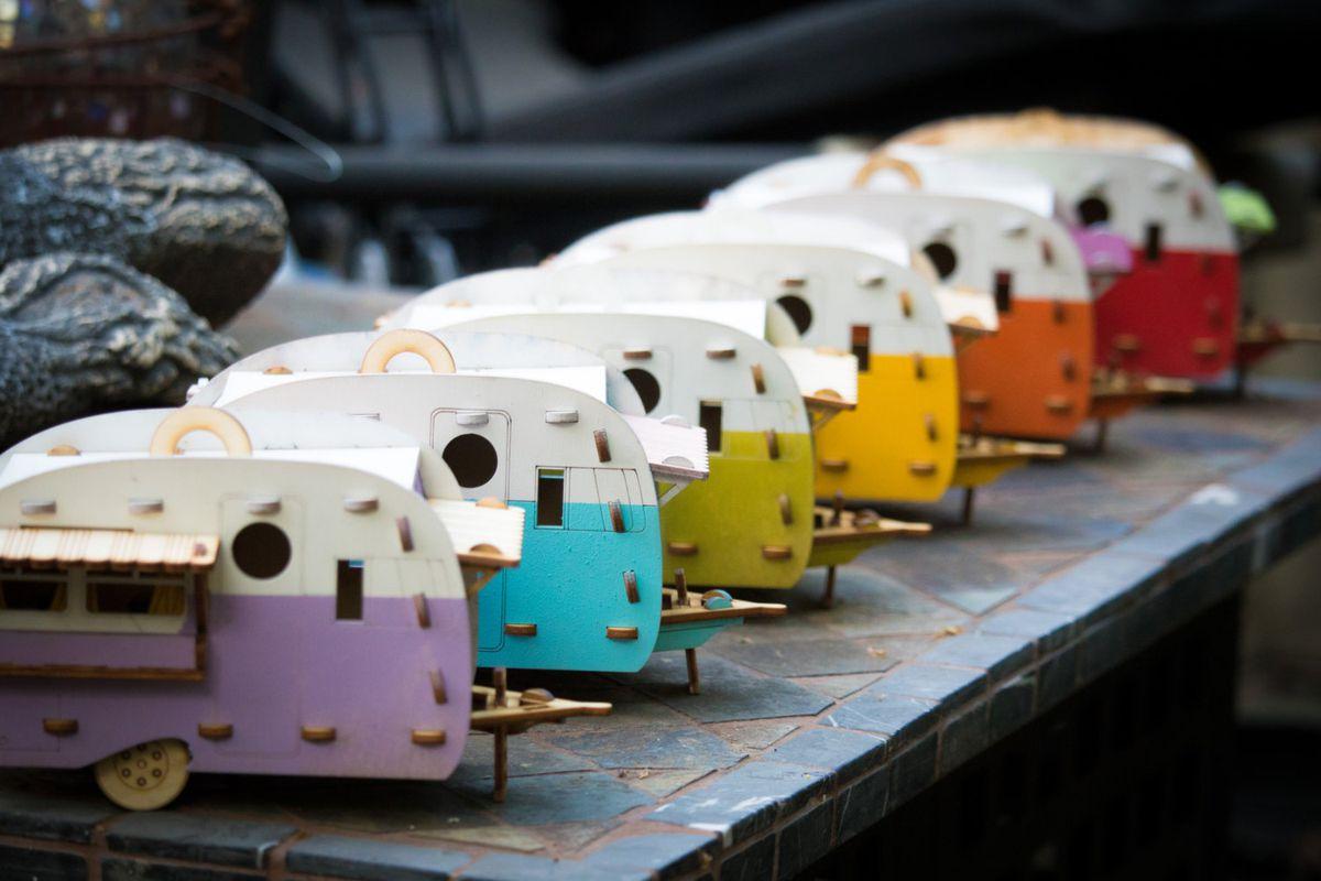 Row of mini camper birdhouses