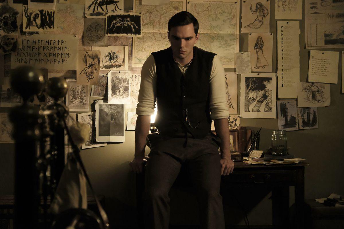 Nicholas Hoult as J.R.R. Tolkien in Tolkien, the film.