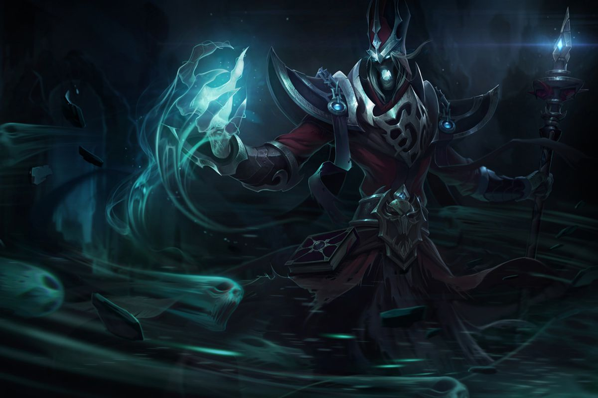 Karthus stands with his staff glowing and his hands full of dark magical energy