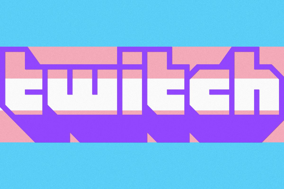 Twitch logo combined with the Transgender pride flag
