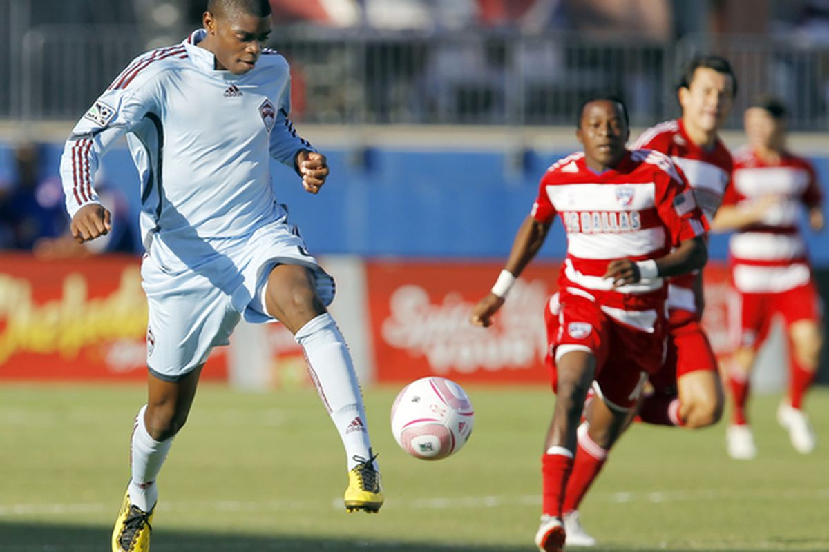 FRISCO, TX - OCTOBER 9: Anthony Wallace #6 of the Colorado Rapids attempts to gain control of the ball during a soccer match against FC Dallas at Pizza Hut Park on October 9, 2010 in Frisco, Texas. (Photo by Brandon Wade/Getty Images)
