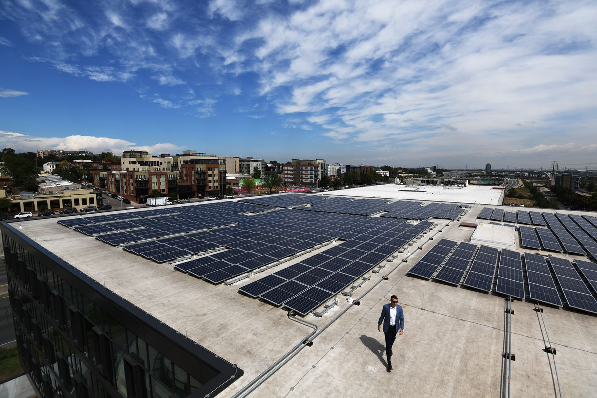 """Solar panels atop the """"Circa"""" building on Platte Street in the Lower Highland neighborhood in Denver, Colorado."""