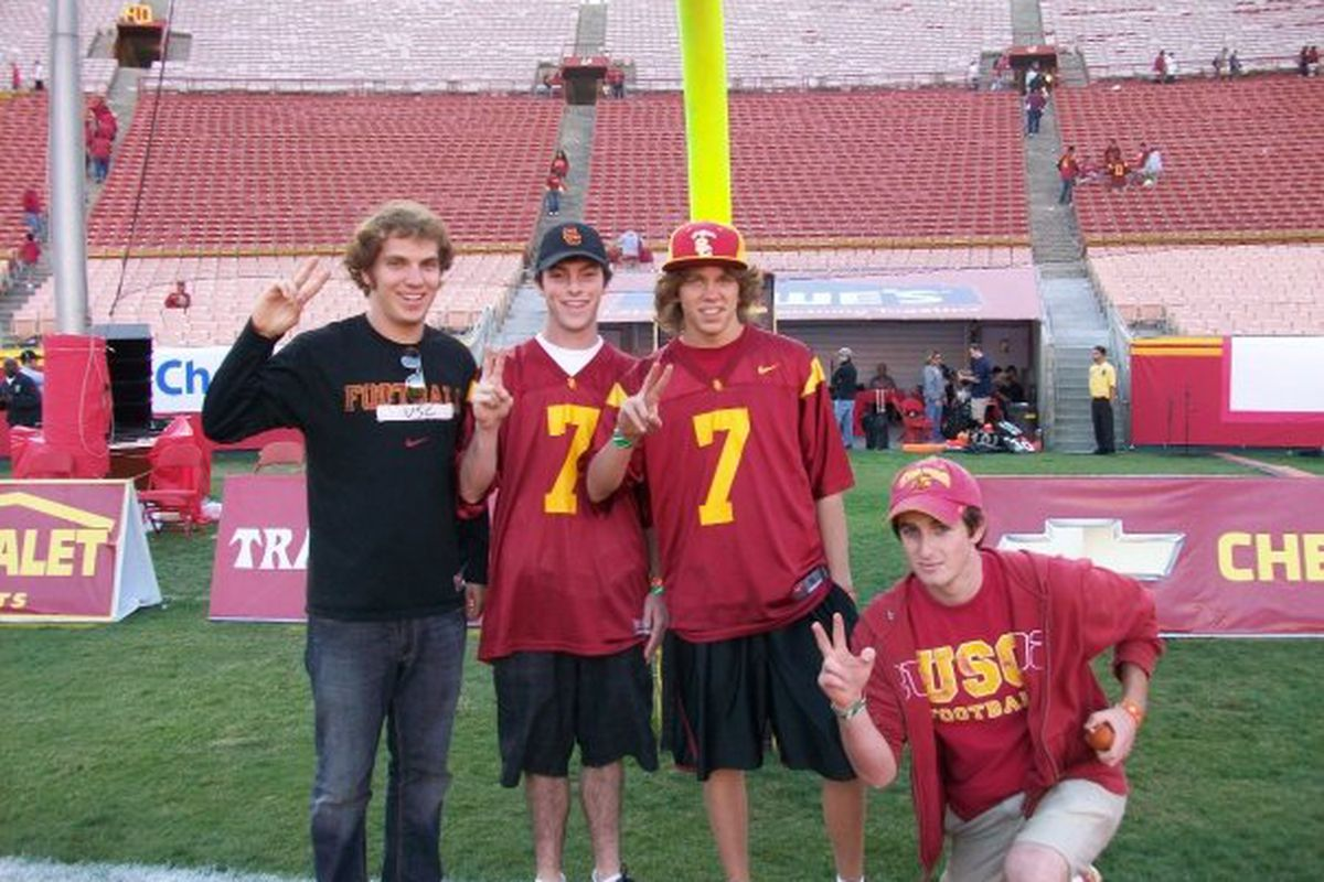 My roommates and I pose for a photo on the field following last November's home loss to Stanford. I still don't know how we were smiling. (note: I'm on the far left)