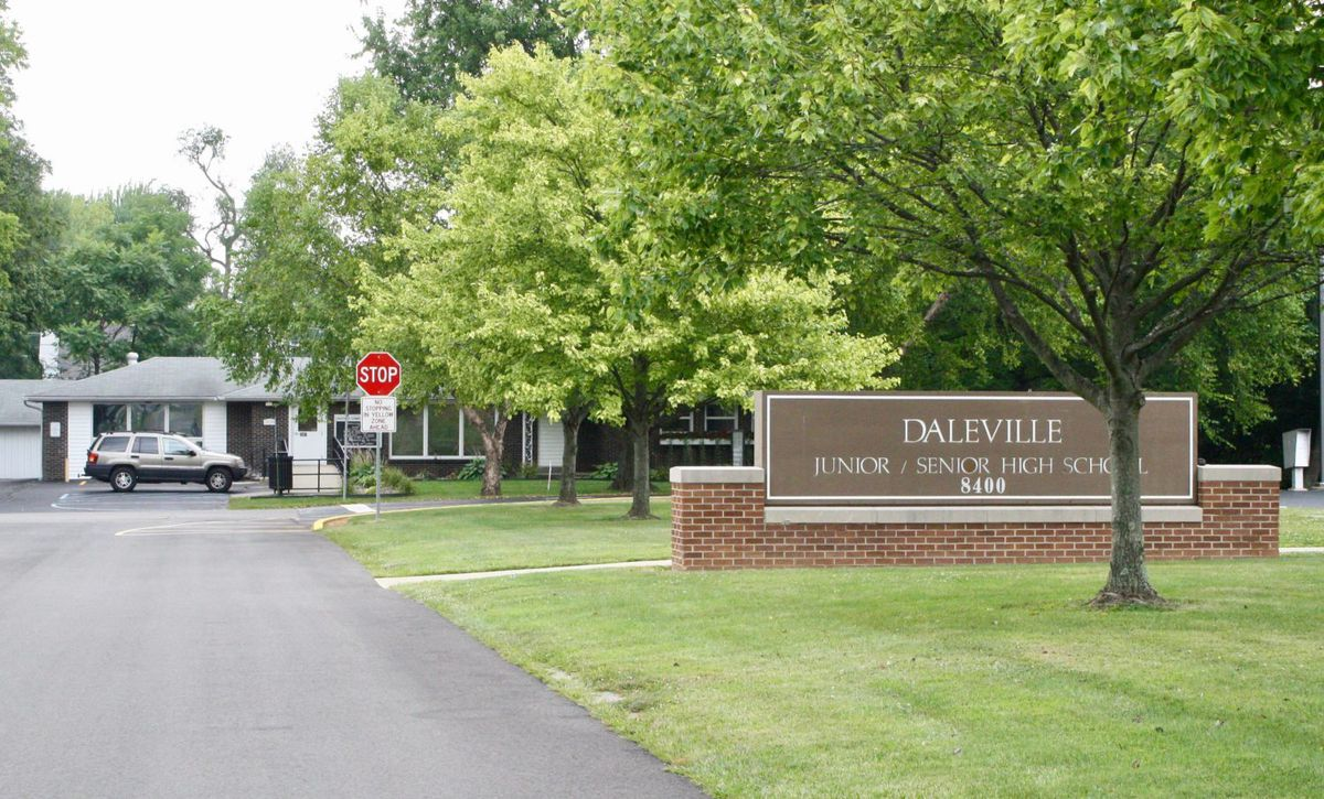 Daleville is home to a small public school district. Pictured is the district administration building, which is right next door to the junior high and high schools.