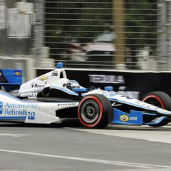 Ryan Briscoe, of Australia, competes during the IZOD IndyCar Grand Prix of Baltimore auto race, Sunday, Sept. 2, 2012, in Baltimore.