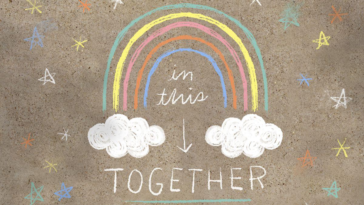 Chalk art showing a rainbow.