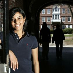Kaavya Viswanathan, a sophomore at Harvard University, poses in front of her dormitory at the university in Cambridge, Mass., Monday, April 10, 2006.  She was caught lifting material from other authors, causing a publishing world scandal. The young author honed her love of writing at the Bergen County Academies, a rigorous New Jersey magnet high school where she was remembered as the kind of person others noticed.