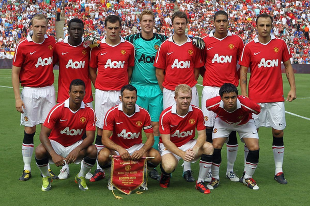 KANSAS CITY MO - JULY 25:  Manchester United starters line up for a team shot prior to the game against the Kansas City Wizards at Arrowhead Stadium on July 25 2010 in Kansas City Missouri.  (Photo by Jamie Squire/Getty Images)