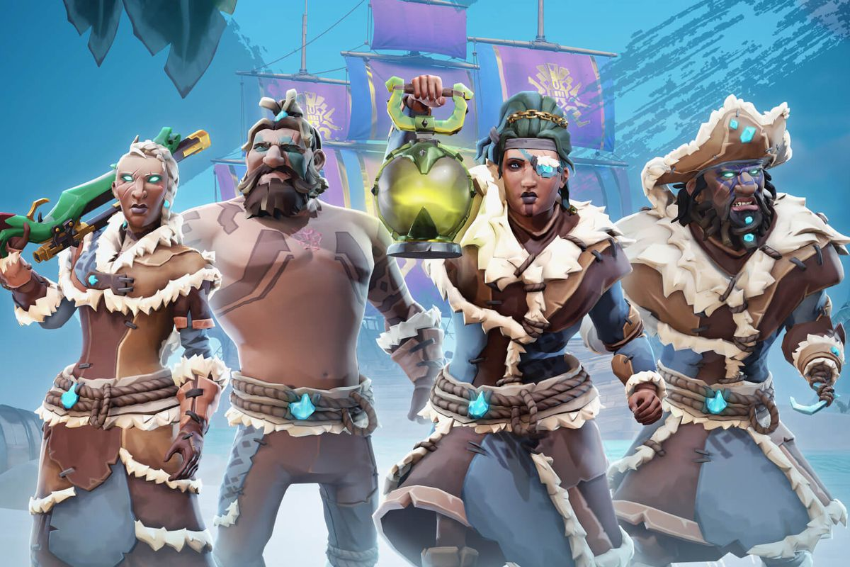 Sea of Thieves - four pirates wear the season one rewards, which are cold-weather themed with blue fabric and lots of fur, with blue crystals adorning the clothes for decoration.