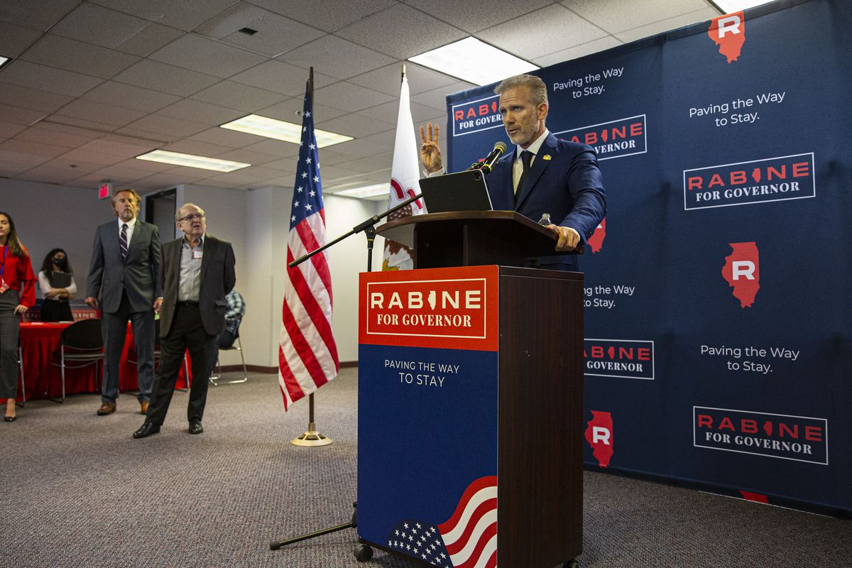 Republican businessman Gary Rabine speaks to supporters as he launches his gubernatorial run at Rabine Group offices at 900 National Parkway in Schaumburg last week.