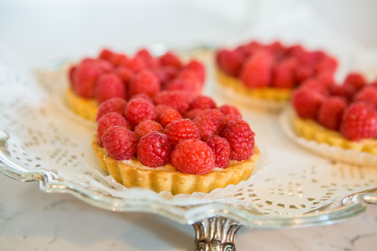 Raspberry tarts at Julie Myrtille Bakery