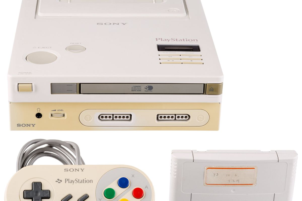 photo of Nintendo PlayStation prototype with controller and cartridge, on white background