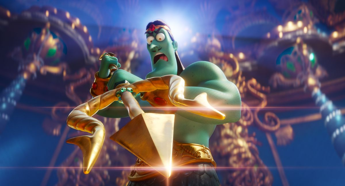 A green-skinned, shirtless Poseidon brandishes a gleaming trident in Sponge on the Run.