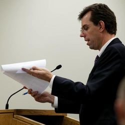 Randy Spencer questions Jason Poirier, a witness testifying against his client Martin MacNeill, during the trial at the Fourth District Court in Provo Wednesday, Nov. 6, 2013. MacNeill is charged with murder for allegedly killing his wife Michele MacNeill in 2007.