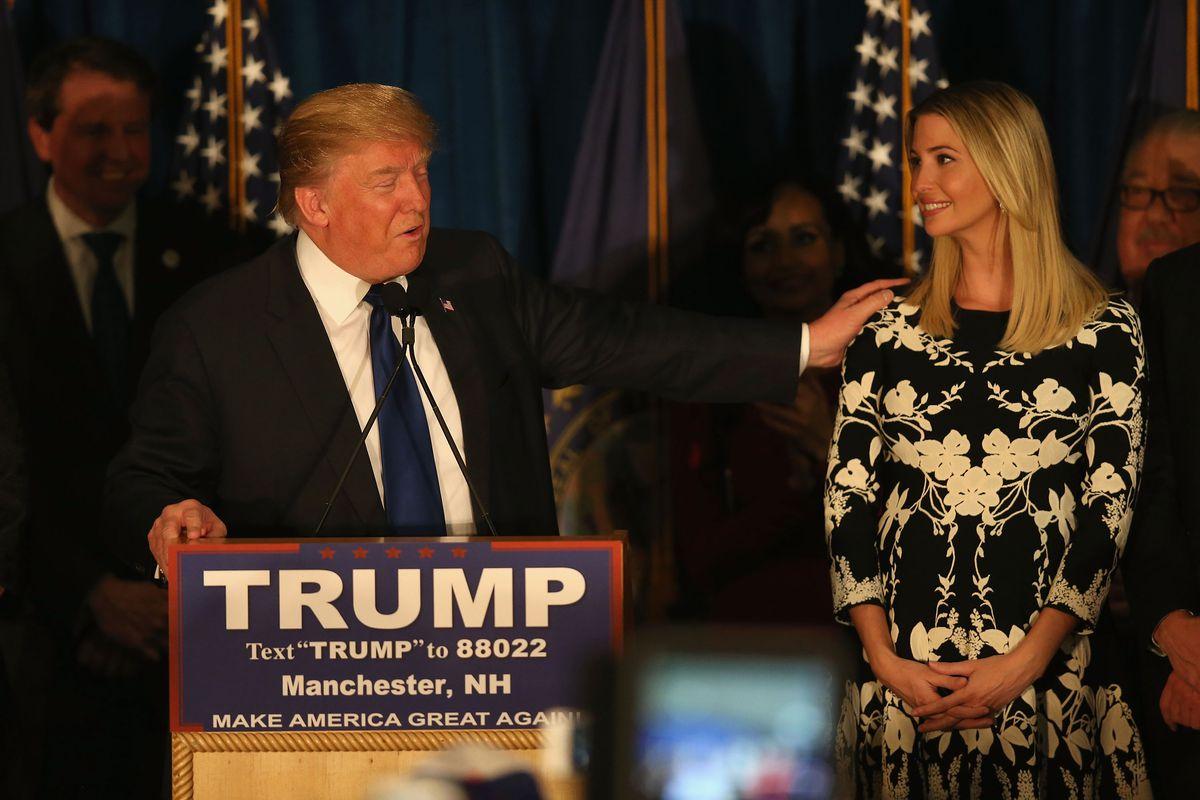 Donald Trump with hand on Ivanka Trump's shoulder