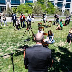 Lt. Gov. Spencer Cox, GOP nominee for governor, answers questions during a press conference outside of the Capitol in Salt Lake City on Tuesday, July 7, 2020.On Monday, Cox and his running mate, state Sen. Deidre Henderson, R-Spanish Fork, were declared the winners in the GOP gubernatorial primary.