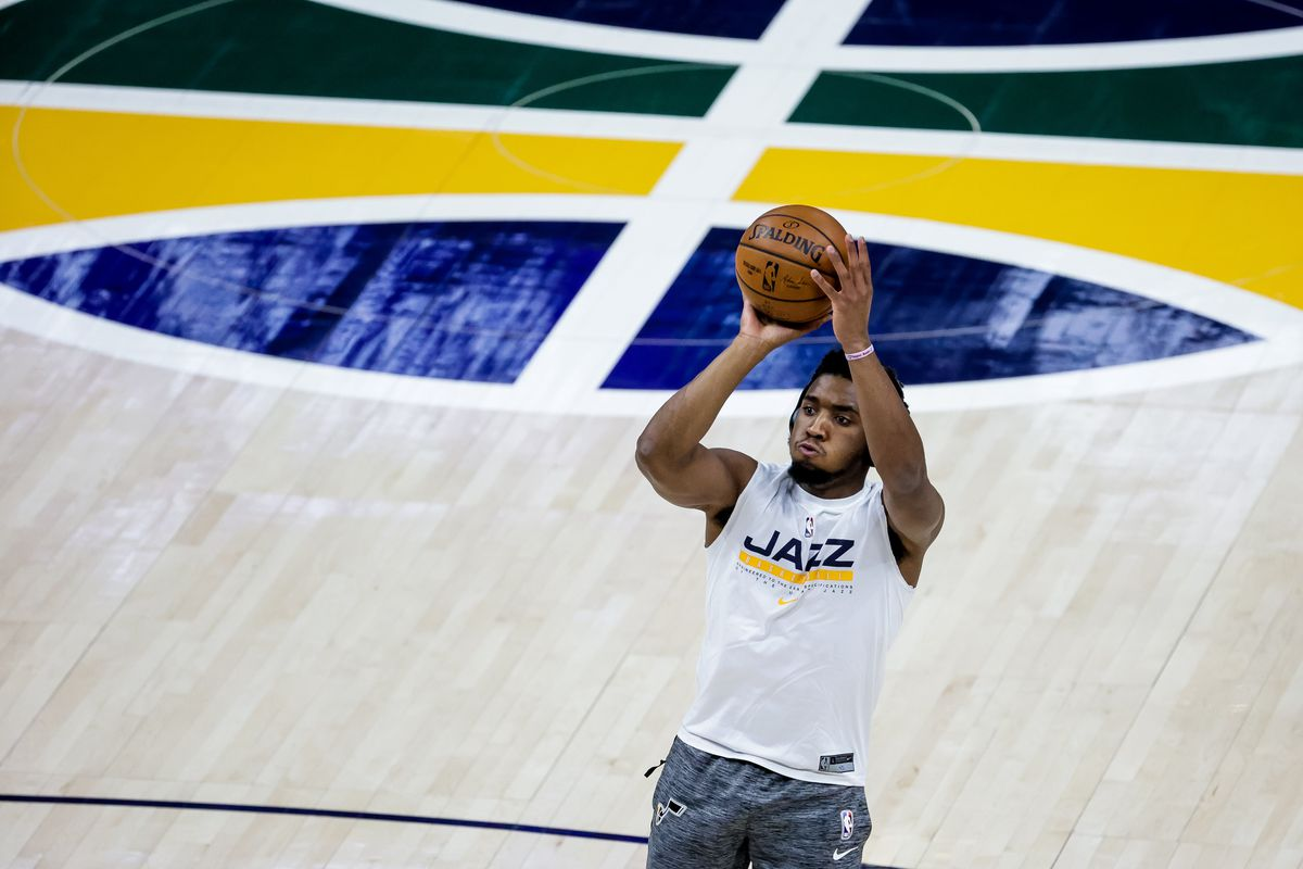 Utah Jazz guard Donovan Mitchell (45) warms up before the game against the New Orleans Pelicans at Vivint Smart Home Arena in Salt Lake City on Tuesday, Jan. 19, 2021.
