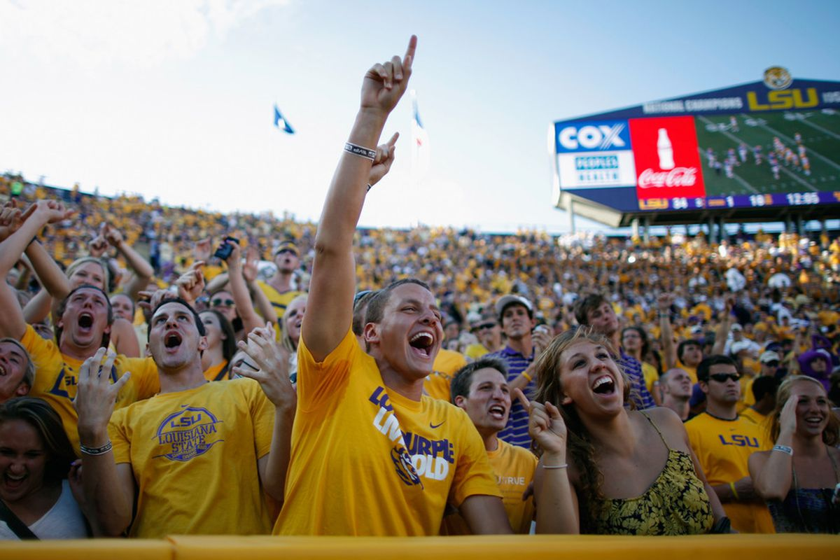 BATON ROUGE, LA - OCTOBER 08:  Fans of the Louisiana State University Tigers cheer during the game against the Florida Gators at Tiger Stadium on October 8, 2011 in Baton Rouge, Louisiana.  (Photo by Chris Graythen/Getty Images)