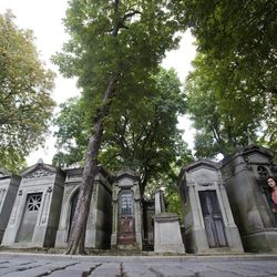 FILE--In an Aug. 30, 2012 file photo people walk past chestnut trees and graves at Pere Lachaise cemetery in Paris.  It seems that a moth has bought the noble tree low, according to Dr. Darren Evans of the University of Hull in England, without a cure in sight.