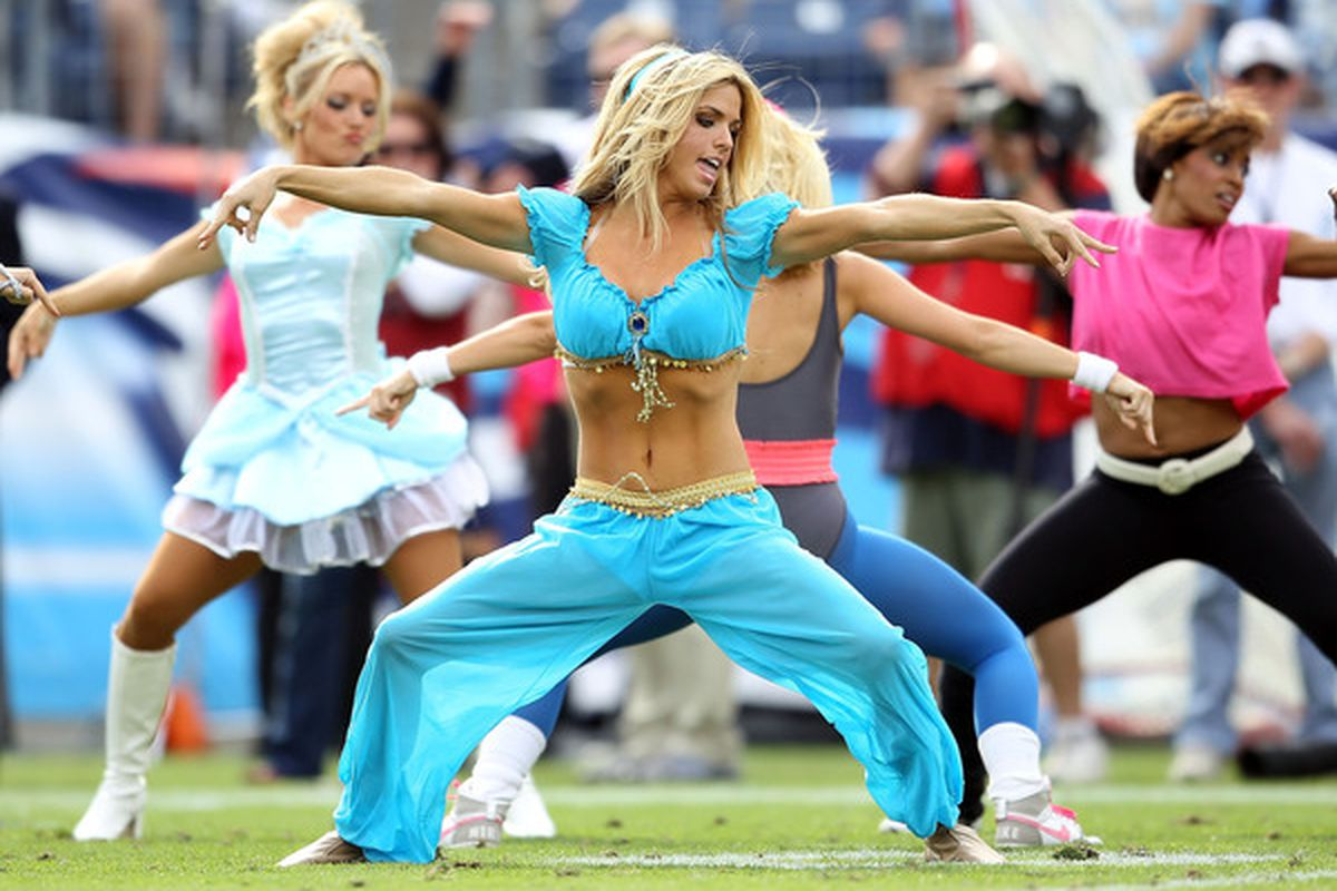 A little present for you, since today is Halloween. These are the Tennessee Titans cheerleaders performing, in costume, last weekend during a game against the Philadelphia Eagles.  (Photo by Andy Lyons/Getty Images)