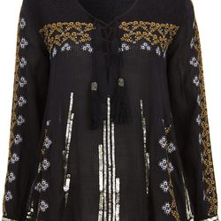 Embroidered Smock Blouse, $120