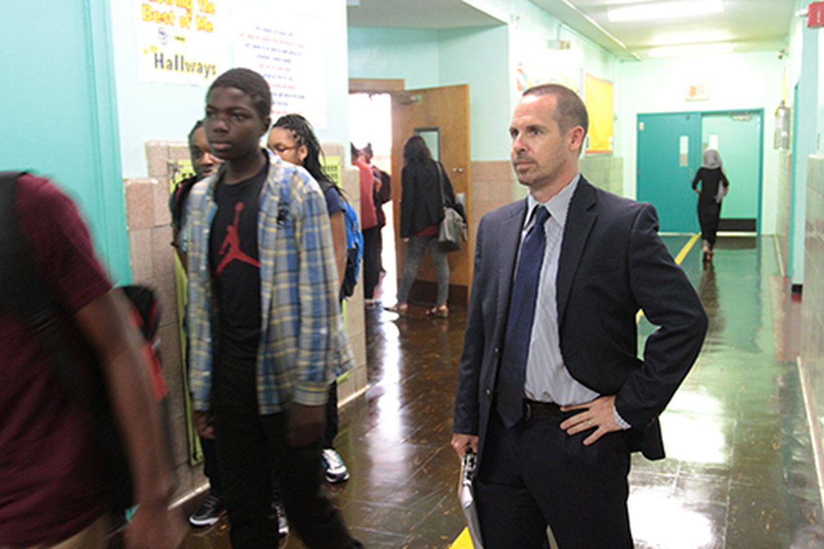 Sean Licata, who is starting his fourth year as principal of the School of Diplomacy in the Bronx, watched over his students on the first day of school.