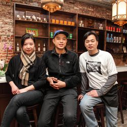 Wilson Tang (center) with partner/GM Eric Li and his wife, Alice Li