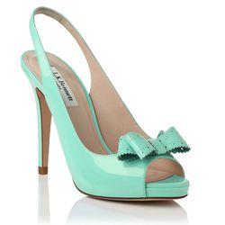 The Pacific peep-toe heel in sky blue.