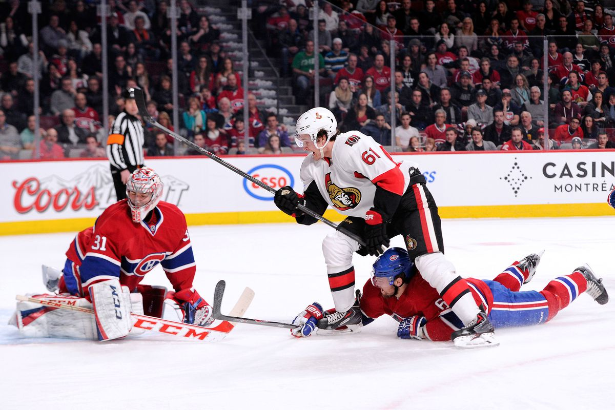 Mark Stone pots his first NHL goal against the Montreal Canadiens
