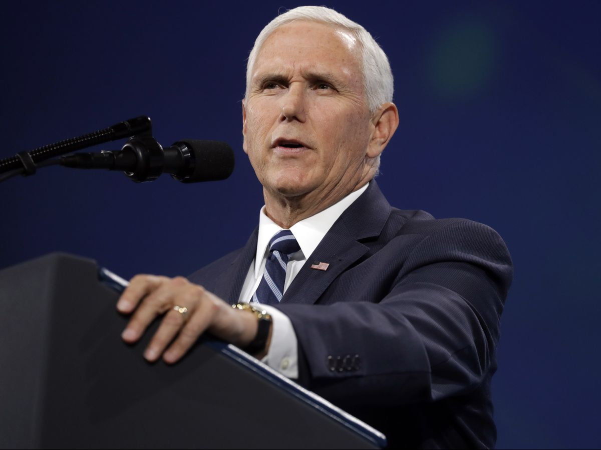 Vice President Mike Pence speaks to the annual meeting of the National Rifle Association, Friday, April 26, 2019, in Indianapolis. (AP Photo/Evan Vucci)
