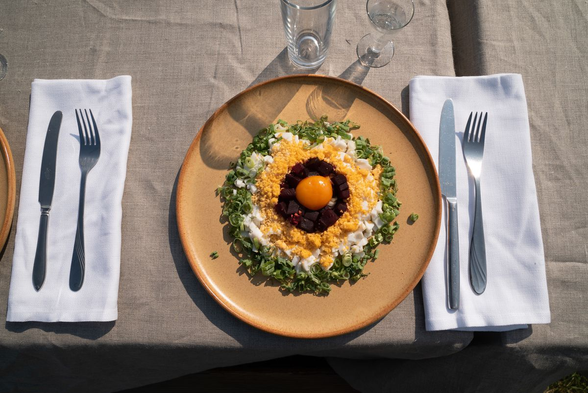 An entree from the feast in the film Midsommar.