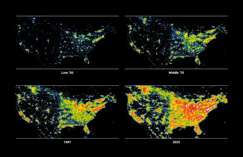 How Cities And Light Pollution Are Ruining The Wonder Of The Night - Us night sky map