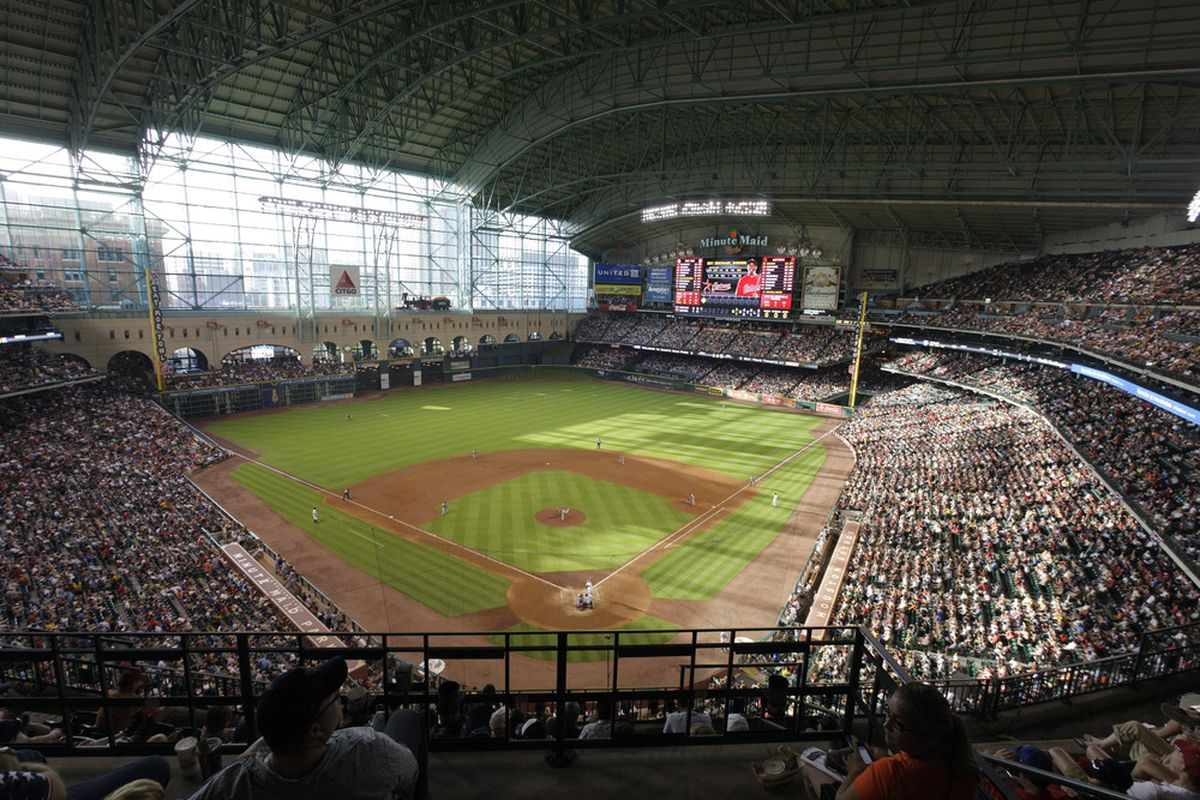 HOUSTON - JULY 02:  A capacity crowd watched the Boston Red Sox play the Houston Astros at Minute Maid Park on July 2, 2011 in Houston, Texas. Boston won 10-4.  (Photo by Bob Levey/Getty Images)