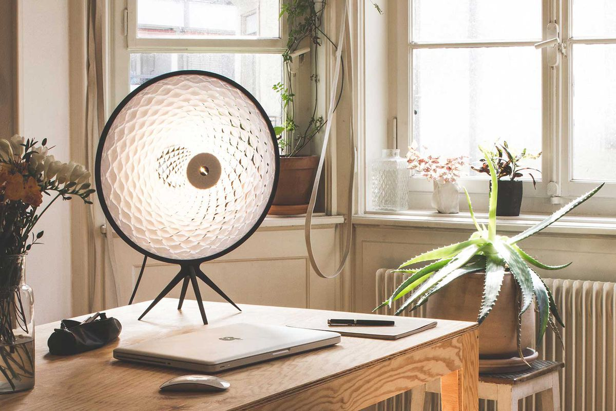 round table lamp with paper shade