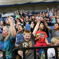 Leigh Okleberry, a 4th grade teacher from Foxboro Elementary in North Salt Lake, Xaiden Christiansen, 10, and William Pinkerton, 10, front row left to right, cheer as the Salt Lake City Stars play the Los Angeles D-Fenders at the Lifetime Activities Center in Taylorsville on Wednesday, Feb. 08, 2017.