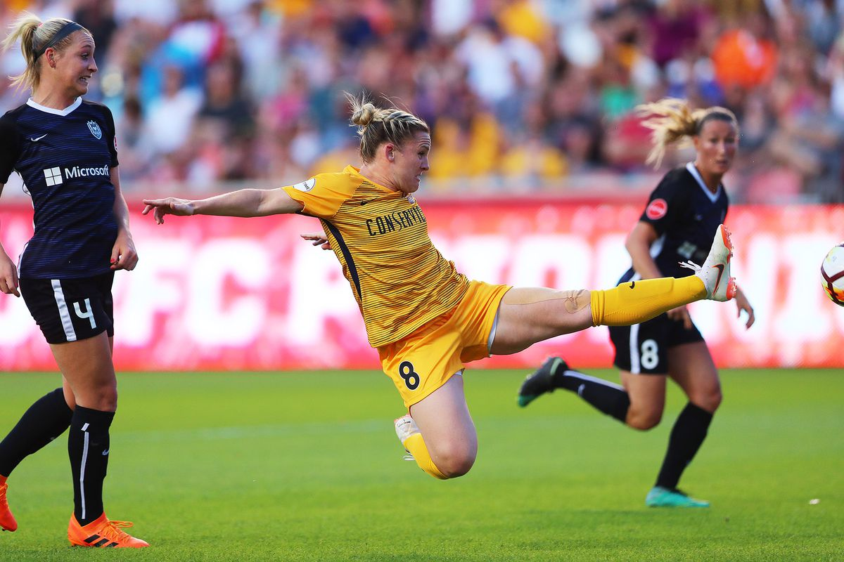 Utah Royals FC forward Amy Rodriguez (8) just misses a shot on goal as Utah Royal and the Seattle Reign play at Rio Tinto Stadium in Sandy on Wednesday, June 27, 2018.