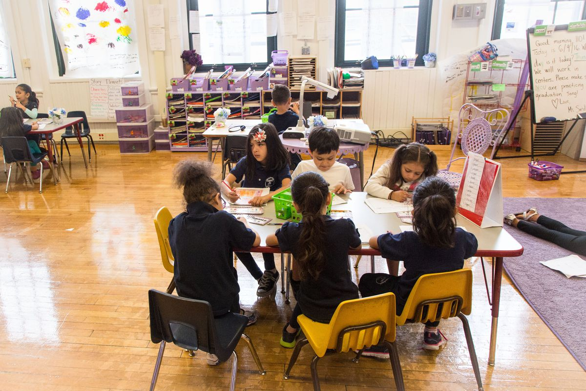 Students in a classroom at Brentano Elementary School.