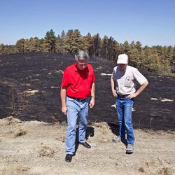 Nebraska Gov. Heineman, left, talks with Scott Josiah, state forester and director of Nebraska Forest Service, as they inspect fire damage at Chadron State Park, Sunday, Sept. 2, 2012, near Chadron, Neb. Officials estimated Sunday that the fires have now burned roughly 273 square miles, including at least 27,000 acres in South Dakota. That's up from roughly 93 square miles on Saturday and more than twice the size of Omaha.