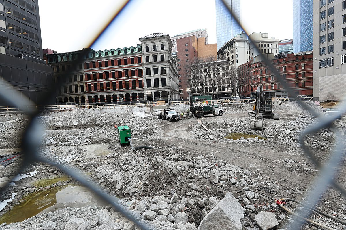 A big construction site in downtown Boston, for a tower called Winthrop Center.