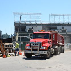 11:50 a.m. Dump truck exiting the triangle lot at Waveland & Clark -