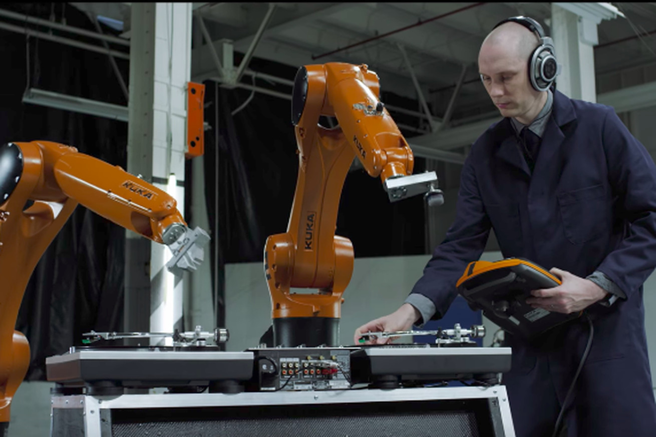 this music video uses industrial robots as stand in musicians