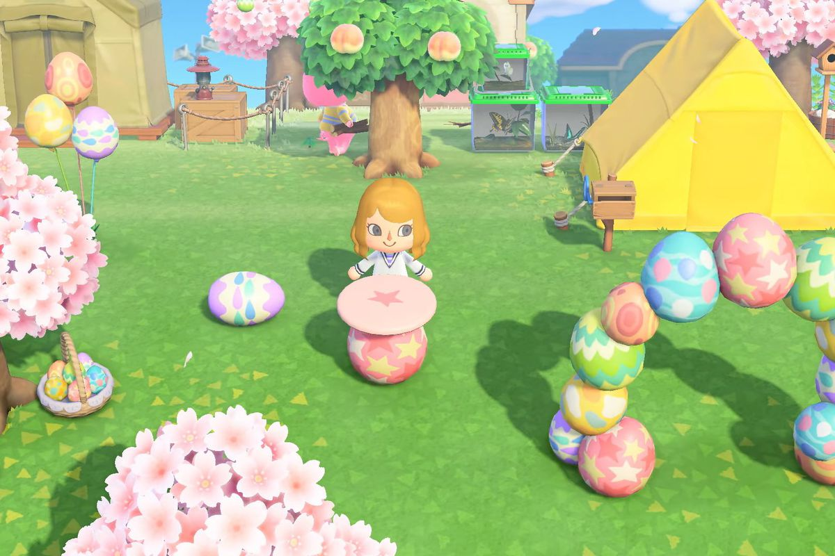 An Animal Crossing character with egg-themed furnishings everywhere