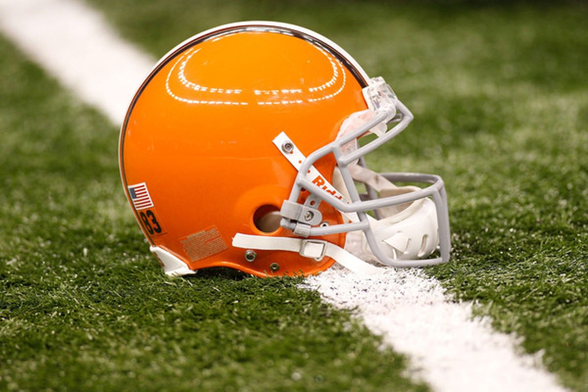 NEW ORLEANS - OCTOBER 24:  A helmet of the Cleveland Browns sits on the turf during pregame before playing the New Orleans Saints at the Louisiana Superdome on October 24 2010 in New Orleans Louisiana.  (Photo by Chris Graythen/Getty Images)