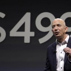 Jeff Bezos, CEO and founder of Amazon, talks about the $499 price point of the new Amazon Kindle Fire HD, compared to the competition's at nearly $1,000, in Santa Monica, Calif., Thursday, Sept. 6, 2012.