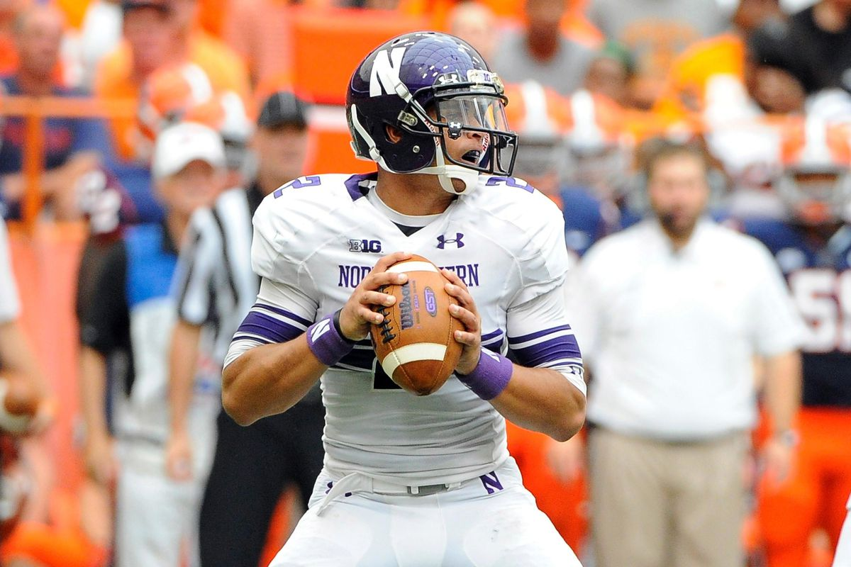 Sep 1, 2012; Syracuse, NY, USA; Northwestern Wildcats quarterback Kain Colter (2) drops back to pass during the second quarter against the Syracuse Orange at the Carrier Dome. Mandatory Credit: Rich Barnes-US PRESSWIRE