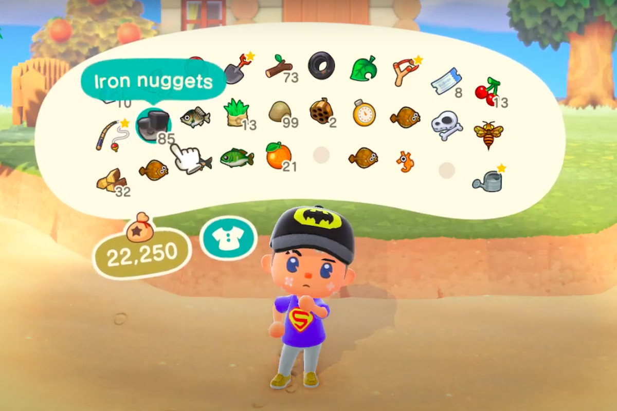 An Animal Crossing villager looks at a hacked inventory with stacks of 99 mats.