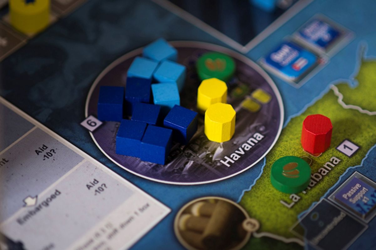 Multiple wooden markers sit on Havana in Cuba Libre, a COIN Series game from GMT Games.